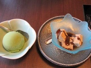 抹茶アイスクリームと蓮根餅